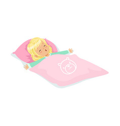 Sweet blonde little girl sleeping on her bed vector