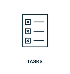 tasks outline icon thin style design from startup vector image