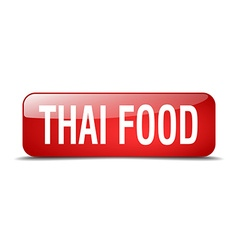 Thai food red square 3d realistic isolated web vector
