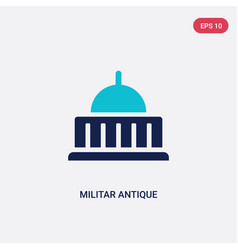 Two color militar antique building icon from army vector