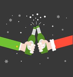 Two hands toasting beer bottle cheers flat design vector