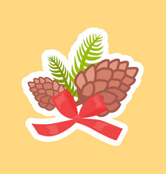 two pine cones decorated with red bow vector image