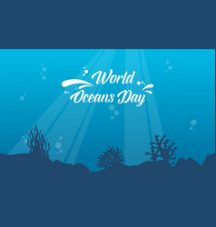 Underwater background for world ocean day style vector
