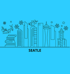 united states seattle city winter holidays vector image