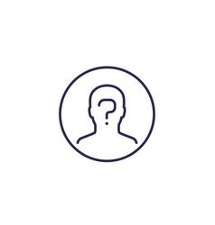 Unknown person line icon vector