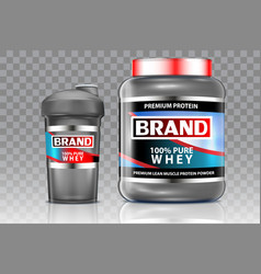 whey protein shaker realistic mock up set vector image