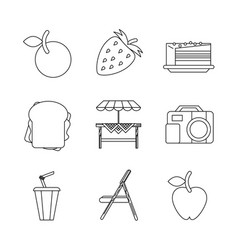 White background with monochrome set picnic vector