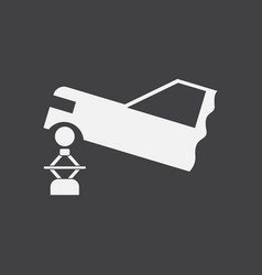 White icon on black background car and crane vector
