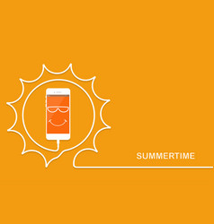 White phone charging fun sun summertime vector
