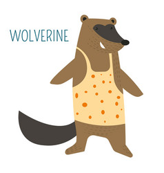 wolverine in shirt cartoon childish book character vector image