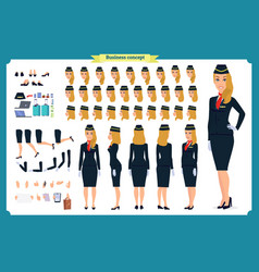 woman character creation set the stewardess vector image