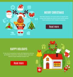 christmas holidays horizontal banners vector image