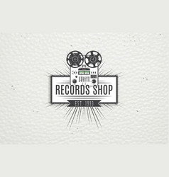 color sticker music shop and studio recording vector image vector image