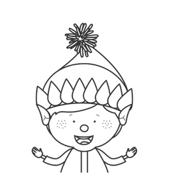 contour with half body gnome boy vector image vector image