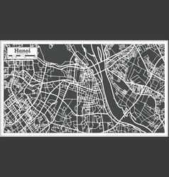 hanoi vietnam city map in retro style outline map vector image