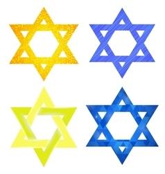 Set of Yellow and Blue Mosaic David Stars vector image