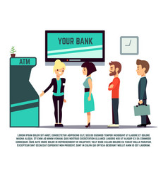 Atm queue with bank adviser - bank service concept vector