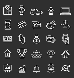 Business element line icons vector image vector image