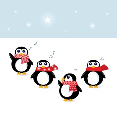 cute christmas singing penguins vector image