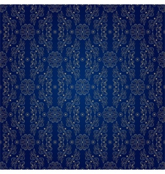 Floral vintage seamless pattern on blue vector image