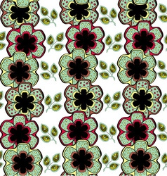 Flowers and Leaves Endless Seamless Pattern vector image