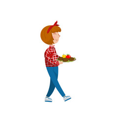 girl holding plate with grilled meat cartoon vector image