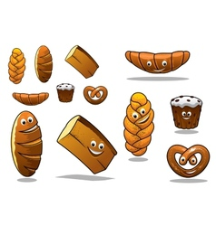 Large set of cartoon loaves of bread vector image vector image