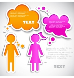 male talking with female paper bubbles for speech vector image vector image