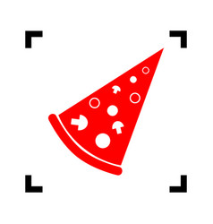 pizza simple sign red icon inside black vector image