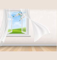 empty room interior with open window vector image