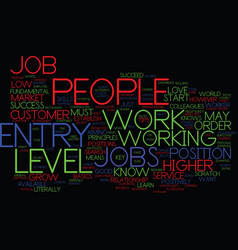 Entry level jobs must know tips text background vector