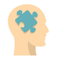head silhouette with jigsaw puzzle icon isolated vector image vector image