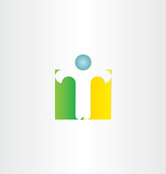 letter t man standing icon vector image