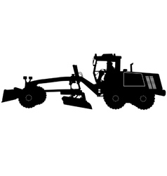 Silhouette of a heavy road grader vector image vector image
