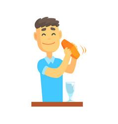 bartender man character standing at the bar vector image vector image