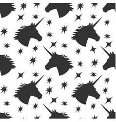 black unicorn silhouette with stars seamless vector image vector image