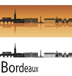 Bordeaux skyline in orange background vector image