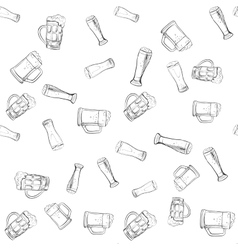 doodle beer glasses pattern vector image vector image