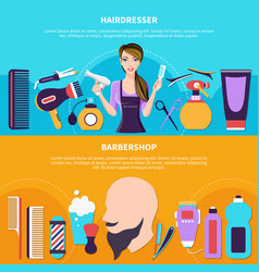 hairdresser colored banner set vector image