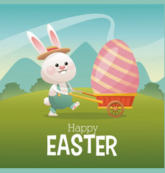 happy easter card bunny carrying egg landscape vector image