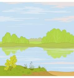 landscape forest river vector image vector image