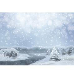 Watercolor Snowy Landscape vector image vector image