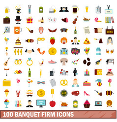 100 banquet firm icons set flat style vector