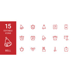 15 bell icons vector image