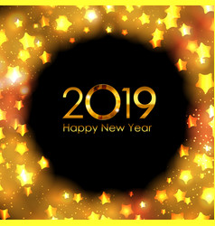 2019 happy new year gold glossy background vector image