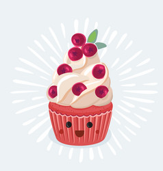 a cupcake on a white background vector image
