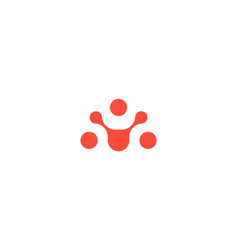 abstract human icon orange connecting circles vector image