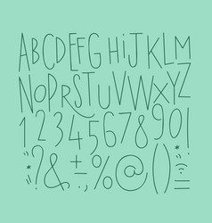Alphabet straight lines font turquoise vector
