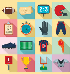 american football equipment icons set flat style vector image