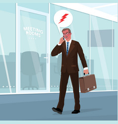 Angry businessman swears by phone in office vector